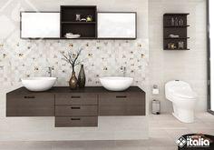 Cuando pienses en tus baños, piensa en un espacio cómodo que te ayudará a relajarte para salir renovado de casa todos los días. El ambiente Delicatezza por su diseño delicado y color suave es una opción ideal para lograr un ambiente sutil pero con mucho estilo. #ElBañoQueTeMereces #CeramicaItalia #TendenciasBaños Double Vanity, Bathroom, Home, Griffins, Soothing Colors, Bowl Sink, Going Out, Space, Style