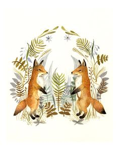 """@Lianne Lowen Smith Lindley """"Foxes and Ferns"""" print of watercolor painting. $35.00, via Etsy."""
