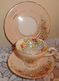 Vintage Aynsley Tea Cup and Saucer with by PrettyVintageHome