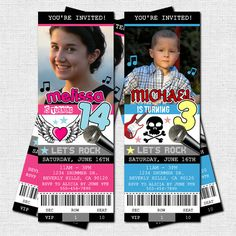 Personalized Birthday Party Rock Star CONCERT TICKET Invitations