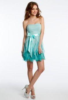 Ombre Glitter Mesh Dress with Satin Tie Waist   Camillelavie.com #dresses #blue #fashion #style #camillelavie
