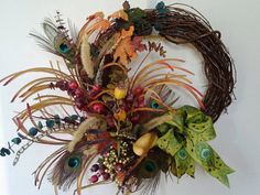Someone buy me this!!  NEW Garden Fall WreathBerries Thanksgiving by WreathdesignsbyJulma, $75.00