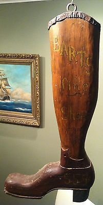 HAND CARVED EARLY AMERICAN FOLK ART TRADE SIGN SHOE STORE