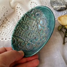 New ceramic soap dish in pretty deep sea green