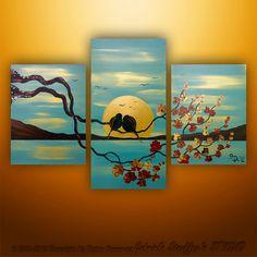 Abstract Modern Painting Landscape Asian Blossom Tree Birds Art by Gabriela 36x24. via Etsy.