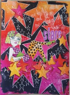 """Ingvild Vinsnes for the Dylusions August Facebook Challenge. For background and to paint the stamps I have used Dylusions ink, pure sunshine, squeezed orange, bubblegum pink,funky fuchsia, pomegranate seed, cut grass, postbox red and tangerine dream. Stars is a Tim Holtz foam stamp. The """"black"""" is Dina Waklys paint night."""