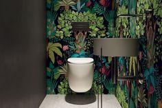 40 Cozy Small Powder Room Design Ideas - Home renovation 2019 , Small Downstairs Toilet, Small Toilet Room, Downstairs Cloakroom, Wallpaper Toilet, Understairs Toilet, Powder Room Design, Toilet Design, Decor Interior Design, Modern Interior