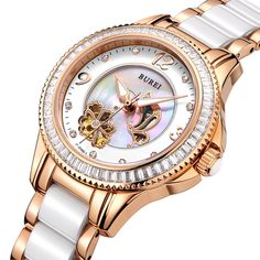 86.70$  Buy here - http://alidg7.worldwells.pw/go.php?t=32753424846 - BUREI Luxury Crystal Sapphire Ladies Ceramic Band Automatic Mechanical Watch Waterproof Wristwatches With Premiums Package 15022 86.70$