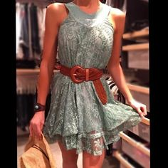 Cute blue/green bubbly dress Never worn and new. popular brand in Spain. Adorable little dress. I displayed it with a belt but you can also just wear it lose. Don't miss out on this little stunner. No trades Carlopik Dresses Mini
