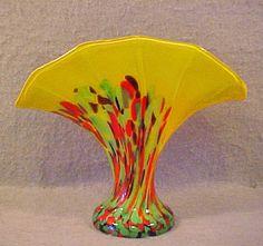 Czech/Kralik Art Glass Yellow Cased Spatter Fan Vase | eBay