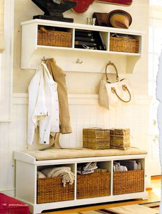 Love the wainscotting. I love storage/coat shelves, but I'd prefer for people to use the coat closet.