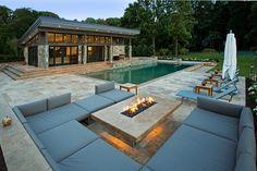 Travertine Patios and Modern Pool House Vienna VA