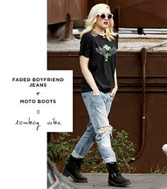 Gwen Stefani  The singer takes her style cues from the boys in her The Psychedelic Furs band t-shirt, baggy jeans, and tough boots--but a red lip and round shades lend a hit of glamour.