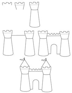 Drawing castle: Learn how to draw a castle with simple step by step instructions. The Drawbot also has plenty of drawing and coloring pages! Doodle Drawings, Easy Drawings, Doodle Art, Kids Art Class, Art For Kids, Happy Birthday Cards Handmade, Castle Drawing, Planner Doodles, Drawing Sheet