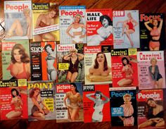 1950's Vintage Pinup Pin-Up Magazines Bettie Page Show Carnival Point People Picture Week Prevue Slick RARE