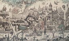Free Graphics, Bratislava, Ex Libris, Surrealism, City Photo, Graphic Art, Vintage World Maps, Fantasy, Fine Art