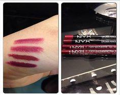 Swatches dos lápis de boca Burgundy, Auburn, Dark Red e Plum feitos pelo Beauty Team da NYX Belém