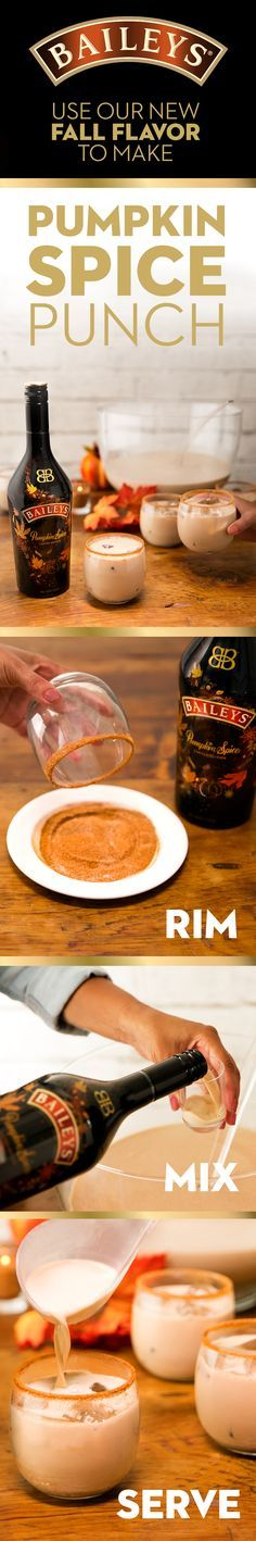 Hosting a party and need a drink recipe for a crowd? This Baileys Pumpkin Spice punch is for you. It's an easy, deliciously sweet cocktail that's perfect for all your fall and winter parties from a halloween bash to holiday potlucks. The sweet rim will  be the sugar on top to a perfect evening!  Recipe (serves 10):Mix 15oz new Baileys Pumpkin spice, 15oz milk, 7.5oz Bulleit bourbon, and vanilla extract to taste in a bowl. Make sugar rim with brown sugar, cinnamon, and nutmeg. Serve over ice.