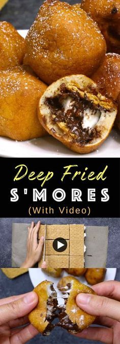 Deep Fried S'mores – OMG seriously one of the most delicious dessert! Smores dipped in homemade batter, and fried to a fluffy, golden crispy ball with a warm and melty chocolate chips and marshmallow…More Bite Size Desserts, Köstliche Desserts, Delicious Desserts, Dessert Recipes, Yummy Food, Homemade Desserts, Yummy Snacks, Dessert Party, Quick Dessert