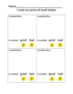 My Sense of Smell Test! from Kindergarten Kids! on TeachersNotebook.com (1 page)  - This is a very fun activity to do while studying the Five Senses with your students!