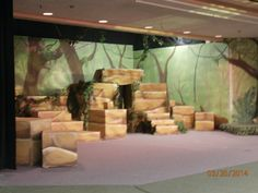 Jungle Book set (wooden boxes painted to resemble rocks and jungle)