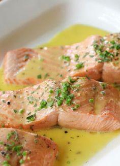 Low FODMAP & Gluten free Recipe - Poached salmon with lemon sauce http://www.ibssano.com/low_fodmap_recipe_salmon_lemon_sauce.html