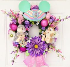 Disney Easter Wreath Thumper and Miss by SparkleForYourCastle, Mickey Mouse Wreath, Disney Wreath, Mickey Minnie Mouse, Disney Mickey, Easter Wreaths, Holiday Wreaths, Holiday Ideas, Spring Wreaths, Disney Christmas