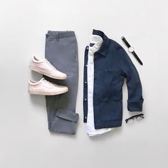 Mens casual fashion flat lay.
