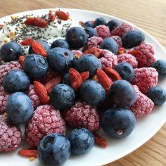 Breakfast love  #goodmorning #blueberry #raspberry #goji #breakfast #yummy #nourish #healthyfood by janakimx