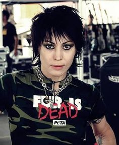 """I don't like PETA (they kill companion animals), but I'm down with the message of this shirt. (PS-- Pretty sure that Joan Jett's """"leather"""" is all synthetic these days!)"""