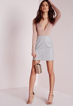 Missguided - Bonded Faux Suede Mini Skirt Light Grey