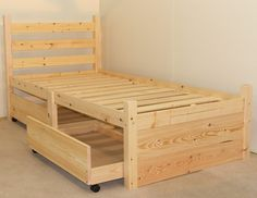 Single 3ft Wooden storage Pine Bed Frame - Can be used by Adults - includes two large pull out underbed drawers: Amazon.co.uk: Kitchen & Home