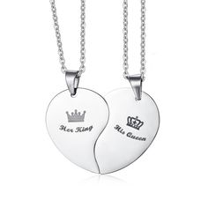 c852a1e444 His Queen Her King Crown Couple Necklace For Women Men Pendant Heart  Stainless Steel