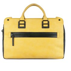 Piquadro TAU Doppelgriff-Laptoptasche mit Front-tasche yellow