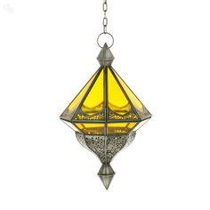 Yellow Antique Finish Hanging Lantern