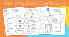 Pretend Play: Grocery Store Printables - Create in the Chaos Play Grocery Store, Play Food Set, Free Groceries, Printer Paper, Easy Crafts For Kids, Learning Resources, Pretend Play, School Fun, Some Fun
