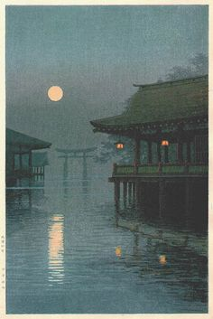 "Art: Japanse Woodblock Print ~Pin via Dromenvangers-Winkeltje: van Yuhan Ito ""Misty Moon at Miyajima""~ Japanese Painting, Chinese Painting, Chinese Art, Japon Illustration, Japanese Illustration, Botanical Illustration, Memes Arte, Japanese Woodcut, Hokusai"