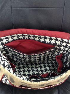 Zippered pocket Alabama Crimson Tide burlap purse