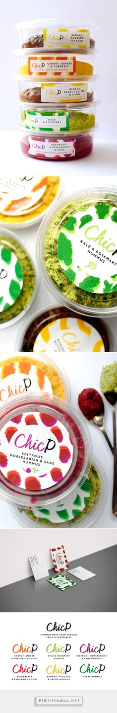 Branding, graphic design and packaging for ChicP Hummus Packaging & Branding on Behance by Beth Salter Brighton, UK curated by Packaging Diva PD. An innovative startup (winning best convenience food innovation) at the world food innovation awards Food Branding, Food Packaging Design, Beverage Packaging, Brand Packaging, Packaging Ideas, Food Truck, Comida Delivery, Cocina Light, Innovative Packaging
