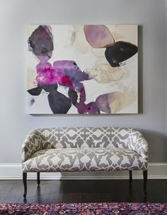 Entryway with Gray and White Bench + Large Abstract Canvas Art + Pink Patterned Rug | Elizabeth Krueger Design