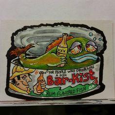 ORIGINAL ART SKETCH CARD WACKY PACKAGES BARKIST RUM FLAVOR FISH FAN ART SCHERES #PopArt