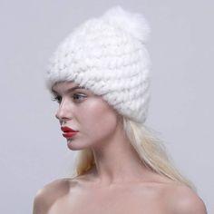 f900f52bc0379  URSFUR Women Winter  Hat Knit Mink Fur Beanie Cap with Fox Pom Pom  Multicolor