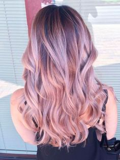 Pastel pink ombre balayage hairstyle for dark hair color,trend of 2015 summer(Rose Gold Hair Blonde) Brown Black Hair Color, Hair Color For Black Hair, Brown Hair, Light Purple Hair, Blue Hair, Balayage Hair Blonde, Balayage Hairstyle, Rose Gold Balayage, Balayage Color