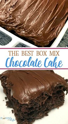 chocolate cake mix recipes Box Mix Chocolate Cake with only a few easy ingredients added is so EASY and tastes AMAZING! This chocolate cake is always requested at family birthday parties for all ages! Chocolate Box Cake, Chocolate Cake Mix Recipes, Amazing Chocolate Cake Recipe, Chocolate Frosting, Ina Garten Chocolate Cake, Cake Mix Desserts, Chocolate Sheet Cake Recipe From Scratch, Chocolate On Chocolate Cake, Gastronomia