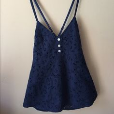Anthropologie Threads 4 Thought Top Eyelet Navy Lined eyelet top with side zipper and adjustable straps. Pretty navy blue color. Check out the $6 section near the bottom of my closet (before the sold items) for lots of bundle-worthy $6 items! 15% bundle discount on 2+ items in a bundle.NO TRADES Anthropologie Tops