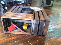 Sustainable Reclaimed Rescued Uniquely Designed Custom Build Crate Coffee Table by Evolution with Storage