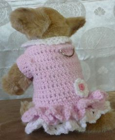 A1 CROCHETED DOG HARNESS WARM SWEATER W SLEEVES AND TURTLE NECK PINK WHITE XXS!