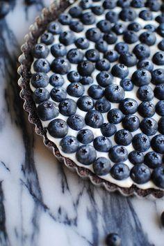 Chocolate Blueberry Tart | LetsEatCake.com // blueberries // berries // chocolate tart // chocolate crust // dark photos // los angeles // cream cheese // summer recipes // easy recipes // quick recipes