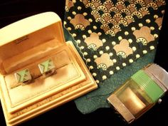 Deco cuff links, tie, and lighter