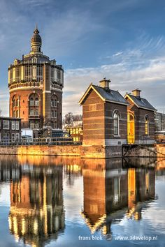 Kralingen watertower and its reflection in Rotterdam, Holland